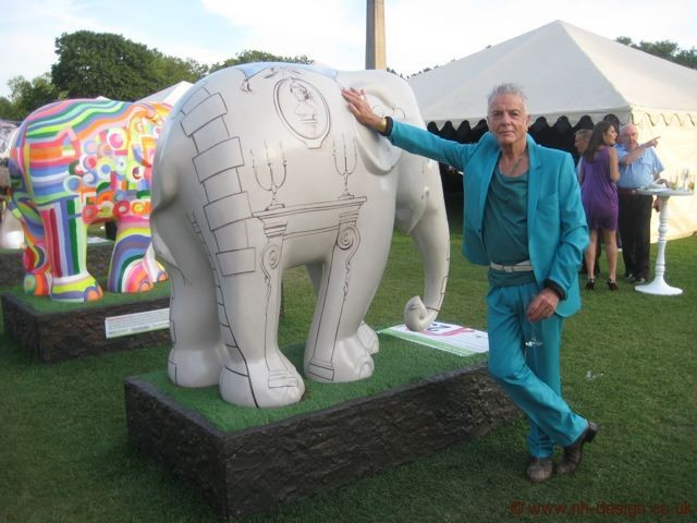 Nicky Haslam with his Elephant for the elephant parade