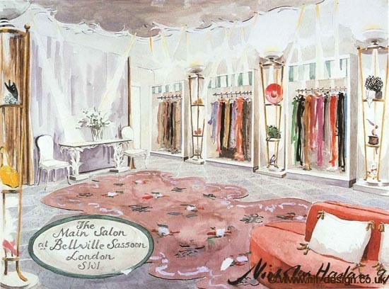 Bellville Sassoon Salon Watercolour by Nicky Haslam