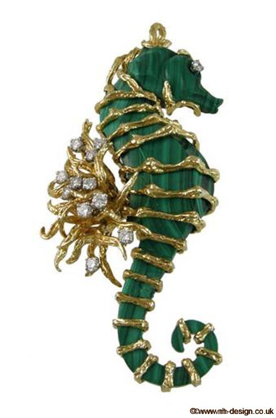 Malachite Brooch from 1stdibs.com - Dealer: Craig Evan Small