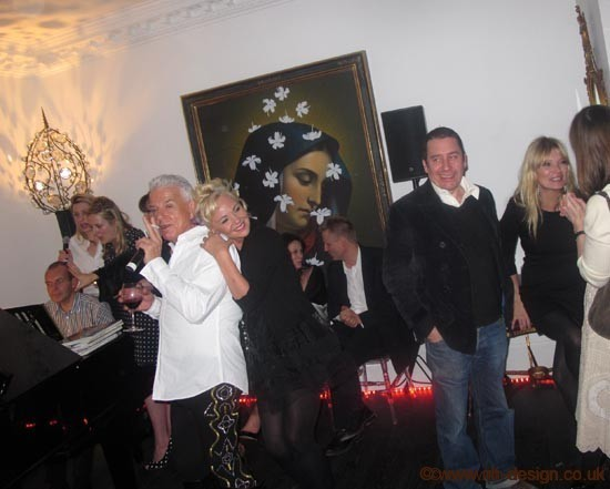 Nicky Haslam and Amanda Eliasch at Lucien Freud's birthday party