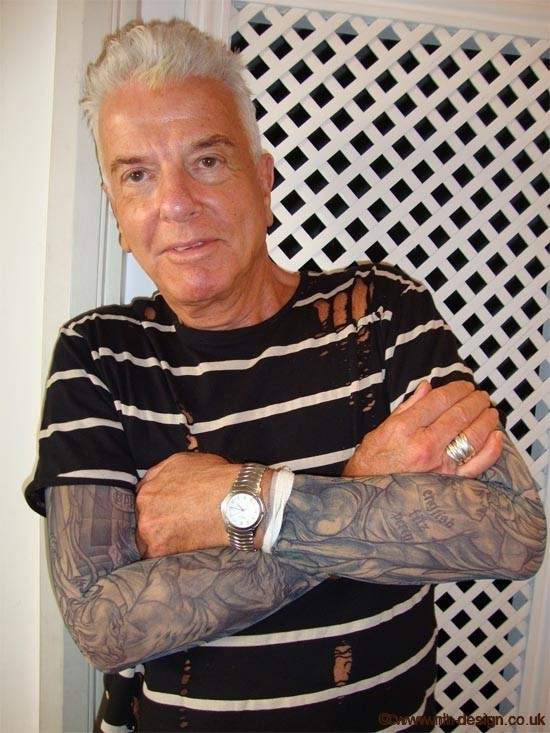 Nicky Haslam wearing his 'Prison Break' tattoo sleeves